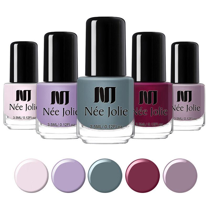 NEE JOLIE 3.5ml Matte Nail Polish Pure Tips Purple Green Black Nail Art Varnish 2