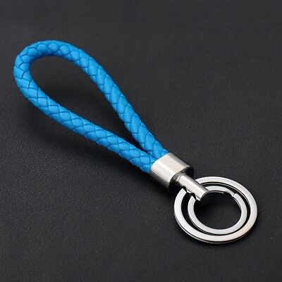 Two Circle Multi-Color Leather Rope Strap Weave Key ring Key chain KeyFob Gift 9