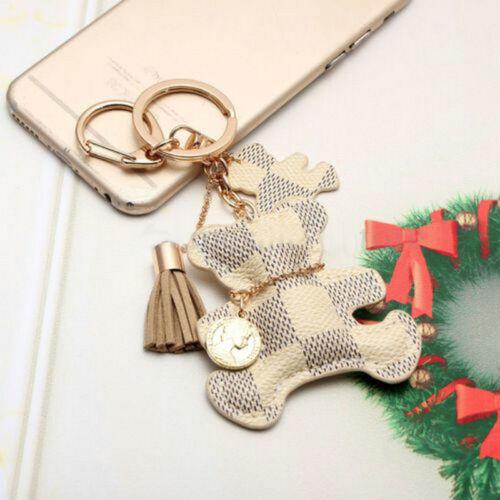 Leather Cute Bear With Tassel Style Purse Key Chain Keyring Phone Handbag Gift