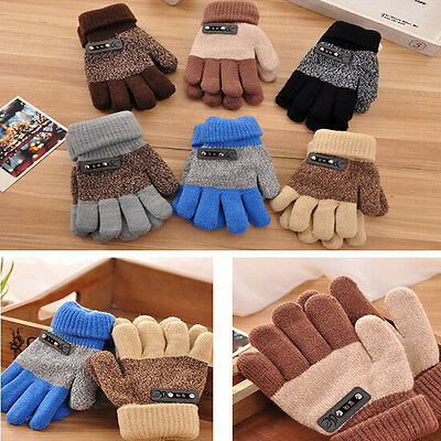 Fashion Kids Winter Gloves Boys Warm Knitted Mittens Full Finger Magic Glove 2