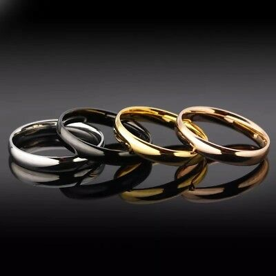 14K Gold Plated 4mm 6mm Polished Stainless Steel Wedding Band Ring Mens & Womens 5