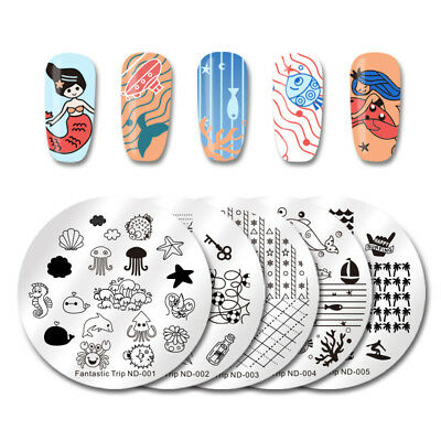 NICOLE DIARY Nail Art Stamping Plates Fantastic Tropical Geometry Image Plate 4