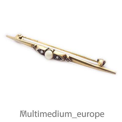 Jugendstil Silber Stab Brosche 1910 Strass Diamond Paste silver pin brooch