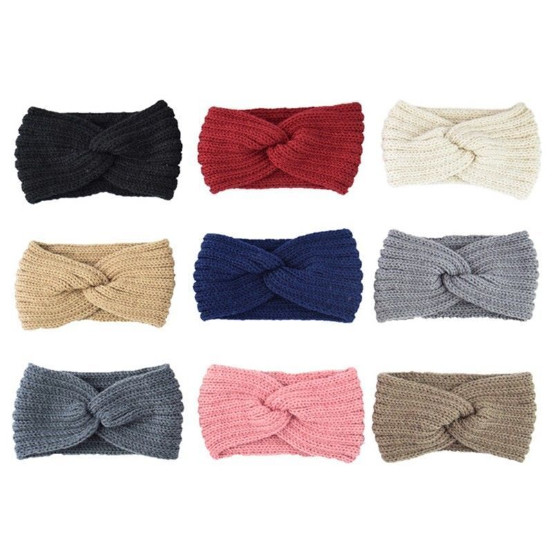 Women Ladies Winter Wool Cross Crochet Knitted Wool Headband Hairbands Hot Charm 2