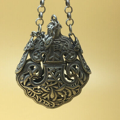 """chinese Tibetan silver old copper hand carved """"福"""" statue snuff bottle 57g a791 5"""