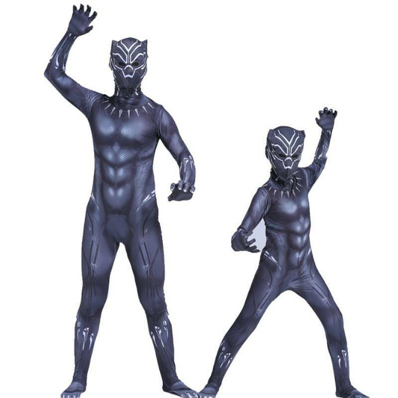 Black Panther Kids Adult Cool Costume Superhero Cosplay Party Fancy Dress Outfit