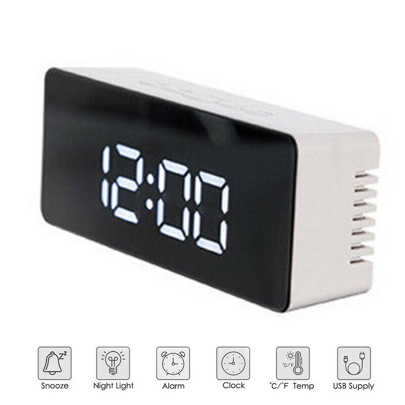 Creative LED Digital Alarm Clock Night Light Thermometer Display Mirror Lamp Hot 6