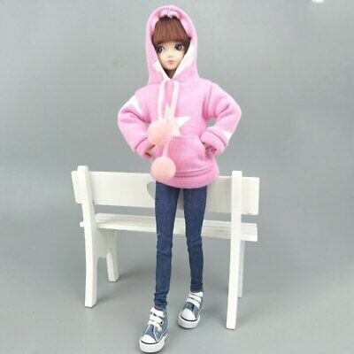 """Pink Star Sweatshirt Coat For 11.5"""" 1/6 Doll Clothes Outfits Pants Canvas Shoes 4"""