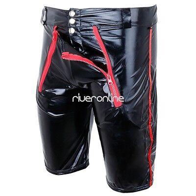 Sexy Herren Lack Leder Wetlook Shorts Glanz Unterhose Kurze Hose Zipper Schwarz 6
