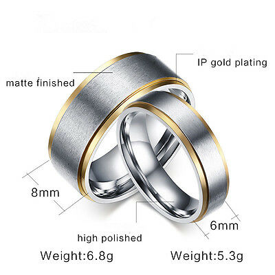 316L Stainless Steel Silver Brushed Gold Plating Bands Men Women's Couple Rings 2