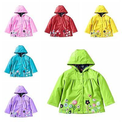 Hot Kids Girls Hooded Waterproof Jacket Coat Cute Outerwear Raincoat Windbreaker 2