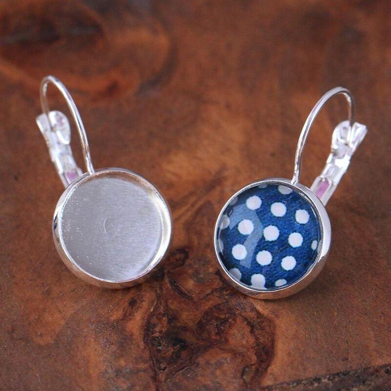 12mm 10Pcs Earring Hooks Round Cabochon Tray Settings Base Round DIY Jewelry 4