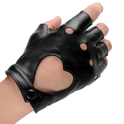 Women Punk Leather Driving Biker Fingerless Mittens Dance Motorcycle Gloves V_MR 6