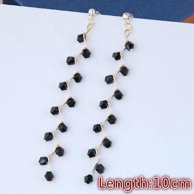 Long Tassel Crystal Hook Earrings Women Drop Dangle Ear Stud Wedding Party 4