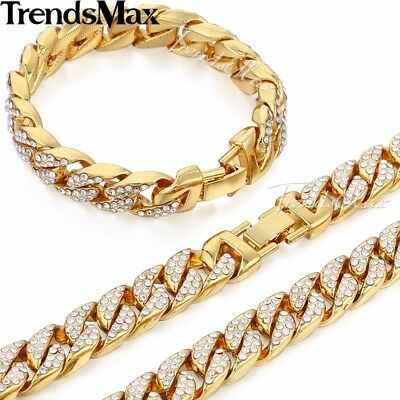 Jewelry Set Mens Yellow Gold Filled Curb Link Necklace Bracelet Chain Hip Hop 8
