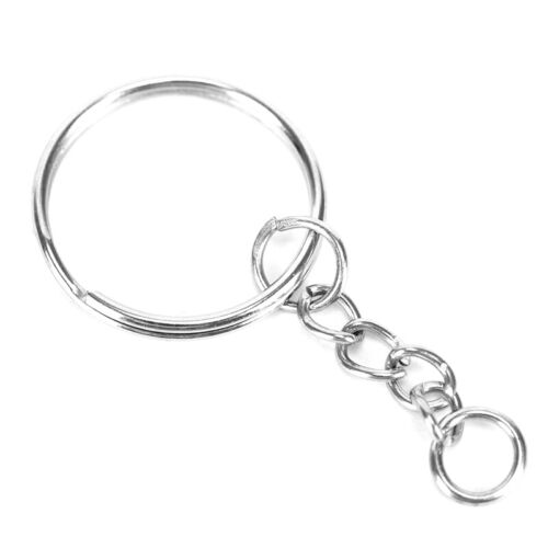 100Pcs Lot Split Keyring Blanks With Link Chains For DIY Craft Key Rings Metal 7
