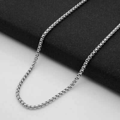 Wholesale Stainless Steel Square Rolo Box Cylinder Chain Necklace Mens & Womens 2