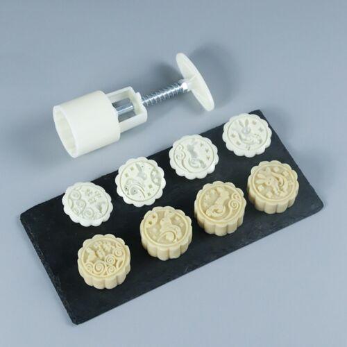 4 Rabbit Stamps 50g Moon Cake Mould DIY Round Mooncake Mold Baking Decor Tool 2