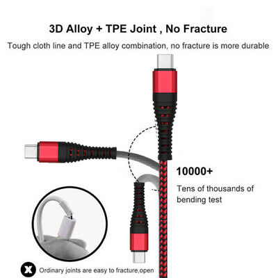 UK Heavy Duty Metal Braided Lightning USB Fast Charger Cable 1~3M For iPhone X 6 10