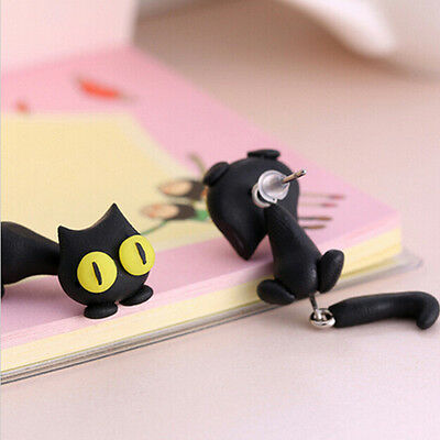 1 Pair Fashion Jewelry Women's 3D Animal Cat Polymer Clay Ear Stud Earring J&S 6