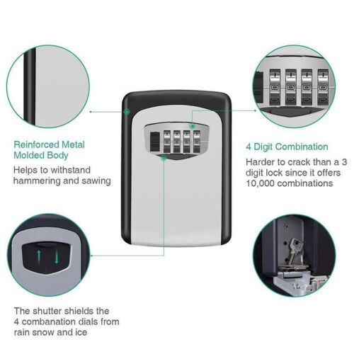 4Digit Outdoor High Security Wall Mounted Key Safe Box Code Secure LockStorageMR 4