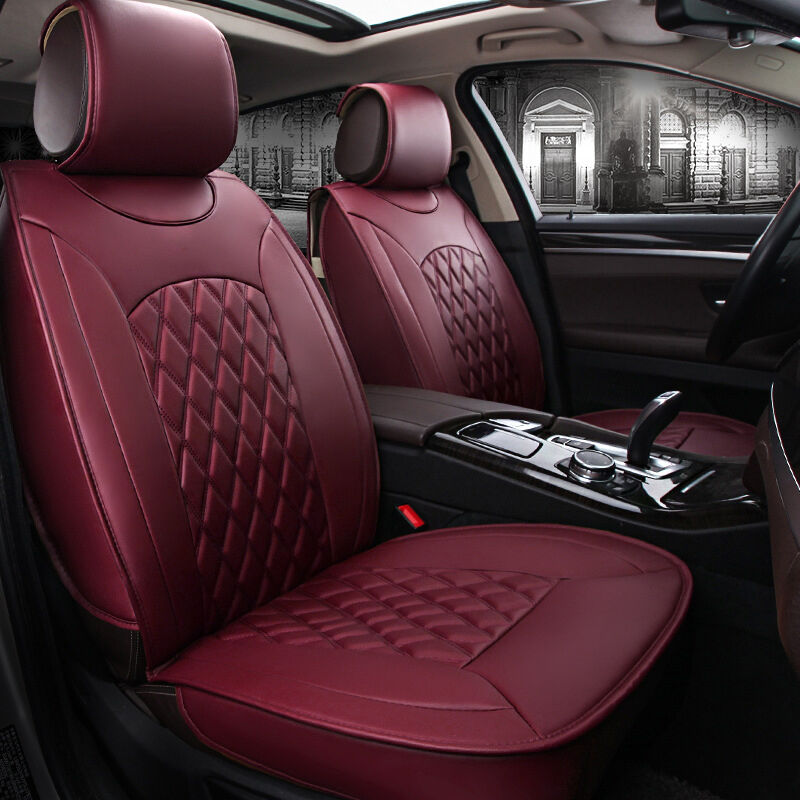 7 Of 12 Universal 5 Seats Car Interior Seat Covers Chair Cushion 3 Colors Pu Leather Udw