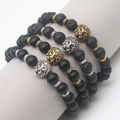 Men Fashion Black Lava Stone Gold&Silver Lion Beaded Cuff Charm Bangle Bracelet 3