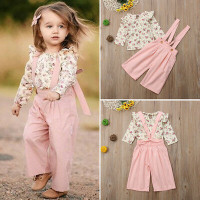 2PCS Toddler Kids Baby Girl Winter Clothes Floral Tops+Pants Overall Outfits AU 4