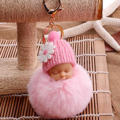 Lovely Sleep Baby Doll Key Chains Rabbit Fur Ball Car Keyring Bag Key Pendant 8