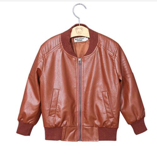 db5f4d5d6 BOY COATS FAUX Leather Jackets Children Outerwear Jacket Brown Black 90-160  Gift