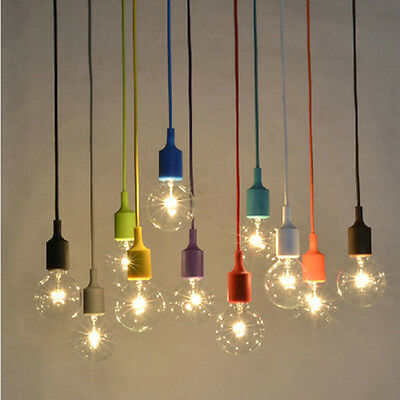 E27 1m 2m Color Silicone Ceiling Rope Cord Pendant Lamp