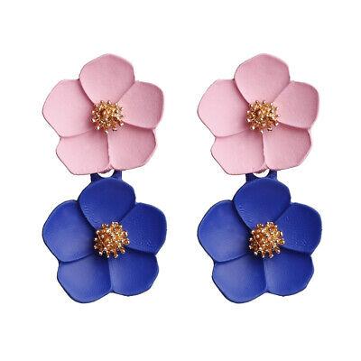 Fashion Crystal Women Flower Drop Dangle Earrings Ear Stud Jewelry Double Layer 5