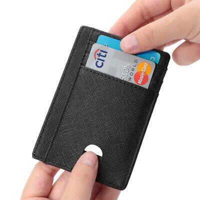 New Genuine Leather Slim Card Holder Wallets For Men - Minimalist RFID Blocking 7