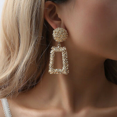 Fashion Punk Jewelry Geometric Dangle Drop Earrings Metal Statement Big Gold 6