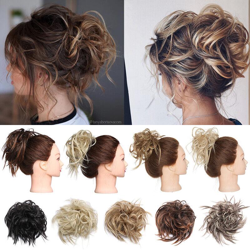 100% REAL Messy Bun Scrunchie Hair Extension Ponytail As Human Hair Piece Blonde 8