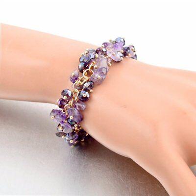 Natural Crystal Stone Chipped Raw Bracelet Women Quartz Bangle Lucky Jewelry New 8