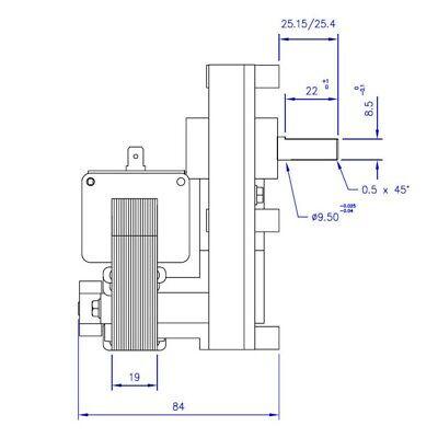 Motoriduttore Stufa a pellet, 1 rpm perno diam. 9,5 mm mellor, THERMOROSSI 2