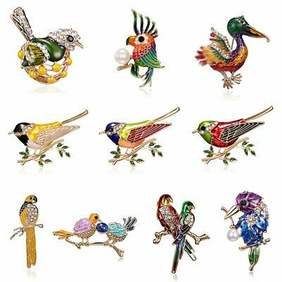 Fashion Brooch Pin Animal Bird Crystal Pearl Enamel Women Wedding Jewelry Gift 4