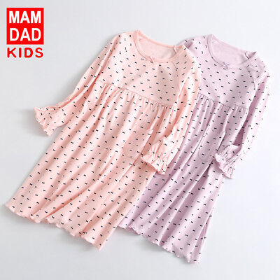 Girls Kids Children Pyjamas long sleeve Nightwear Cotton Night Dress Nightie 4