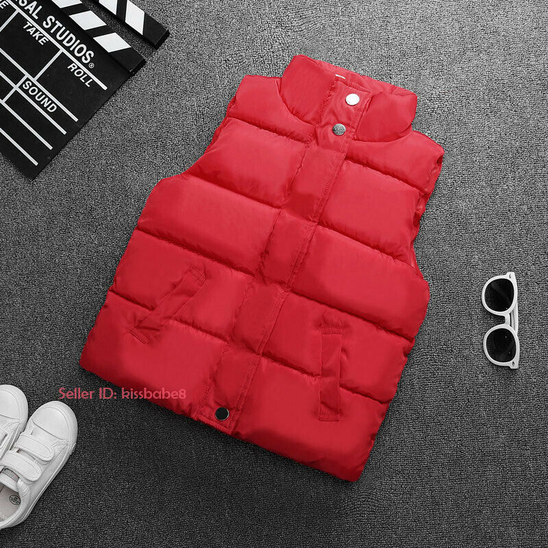 Kids Boys Girls Warm Cotton Down Vest Quilted Jacket Waistcoat Coats Snowsuits 9