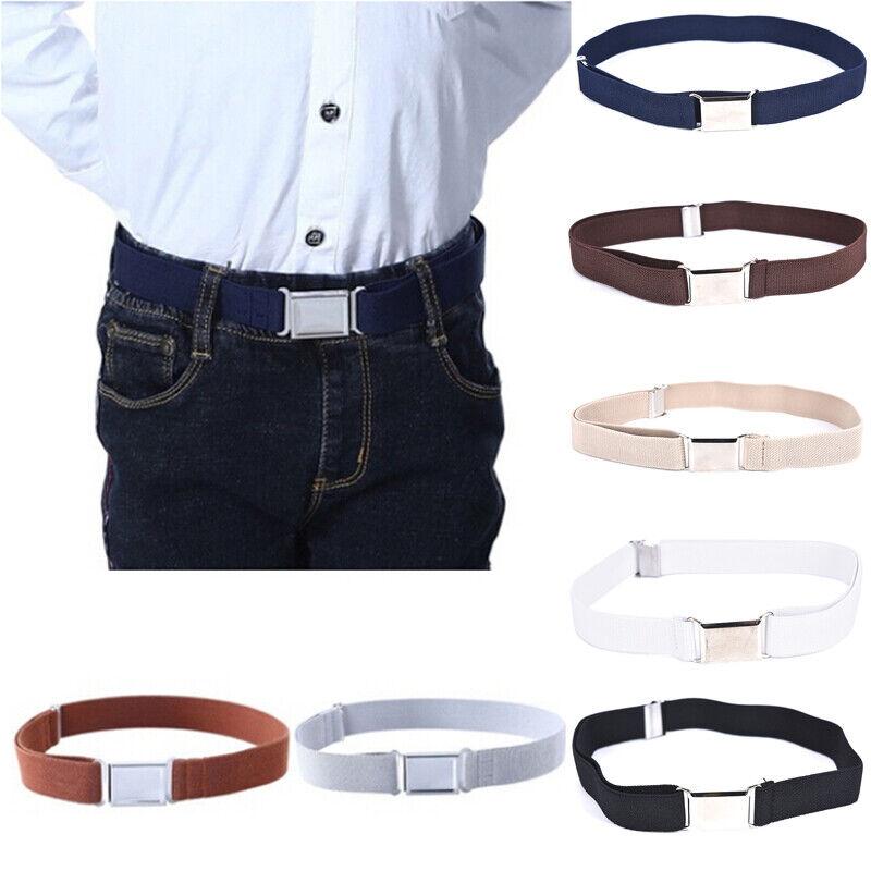 Children Solid Color Unisex Canvas Belts Boys Girls Elastic Belt Adjustable MC 2