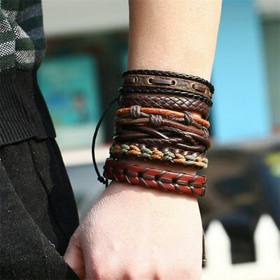 Fashion Mens Punk Leather Wrap Braided Wristband Cuff Punk Bracelet Bangle New 3