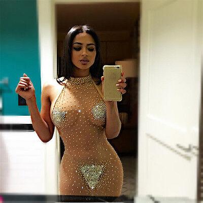Mujeres Sexy Bodycon Transparente Lencería Cóctel Fiesta De Tarde Mini Vestido 4