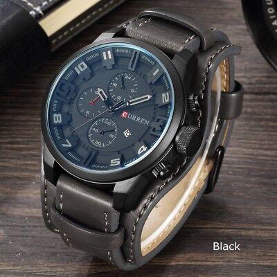 Fashion Curren Mens Date Stainless Steel Leather Analog Quartz Sport Wrist Watch 5