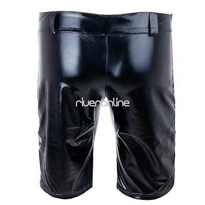 Sexy Herren Lack Leder Wetlook Shorts Glanz Unterhose Kurze Hose Zipper Schwarz 8