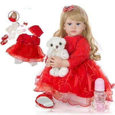Cute 24 Inch Reborn Toddler Doll Newborn Baby Girl Doll Lovely Long Hair Doll 2