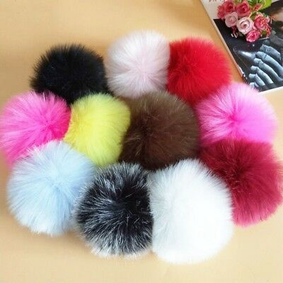 Women Large Faux Raccoon Fur Pom Pom Ball With Press Button For Knitting Hat DIY 3