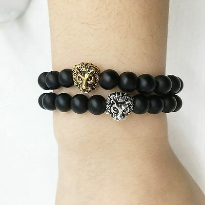Men Fashion Black Lava Stone Gold&Silver Lion Beaded Cuff Charm Bangle Bracelet 7