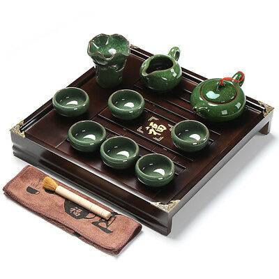 Chinese tea set with tea tray pot cups solid wood tea table with plastic layer 4