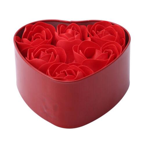 Red Rose Heart Shaped Ring Earring Display Jewelry Box Velvet Box D3L2